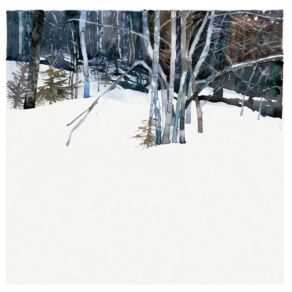Michel Rohmer aquarelle montagne hiver